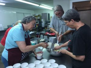 Our prep crew made all the ice cream at the Weatherford Senior Center a week ahead.